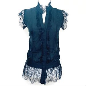 Haute Hippie barely there black lace mesh blouse